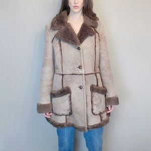 Vintage real leather and shearling jacket.